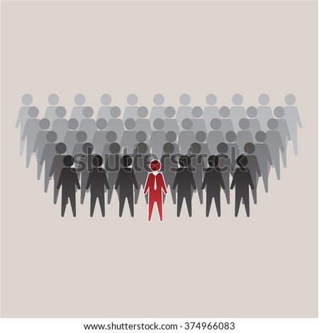 red man in a tie leads the crowd of gray figures, vector  - stock vector