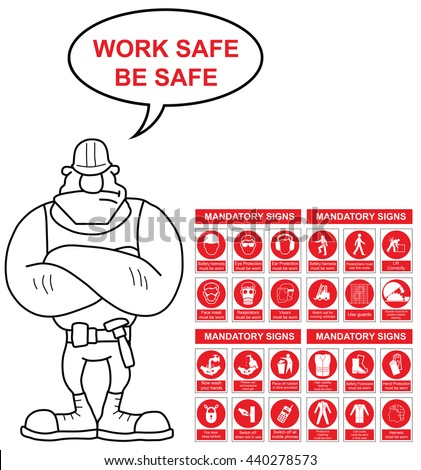Red mandatory construction engineering and manufacturing health and safety sign set with work safe be safe message isolated on white background - stock vector