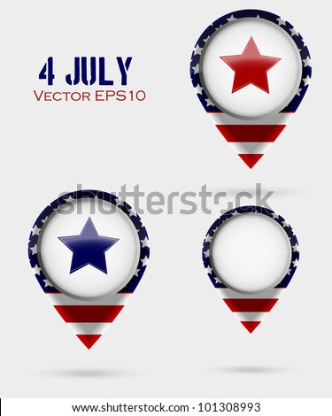 Red Map Markers. 4 July Theme - stock vector