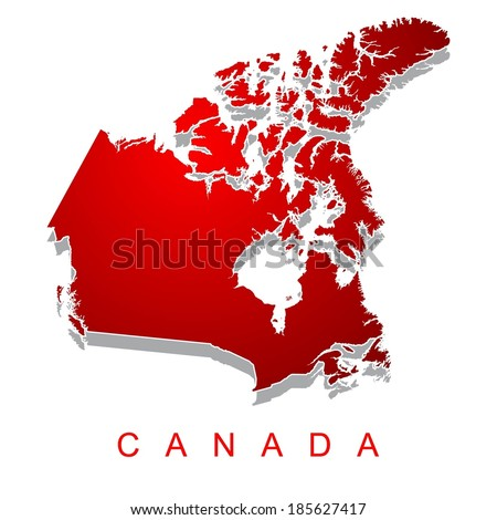 Red map of Canada - stock vector