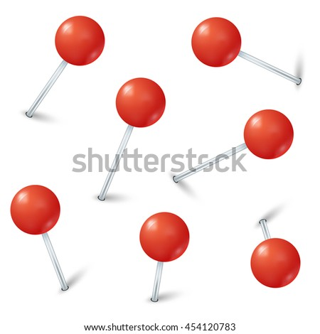 Red map pin markers vector. Collection pins fixed and illustration pin with red button - stock vector