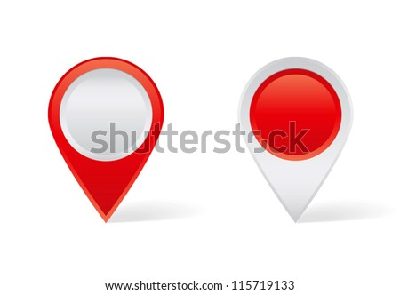 Red map pins - stock vector