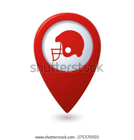 Red map pointer with american football icon - stock vector