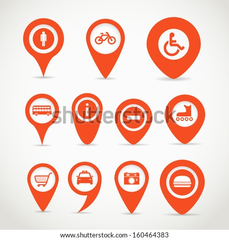 Red map signs - stock vector