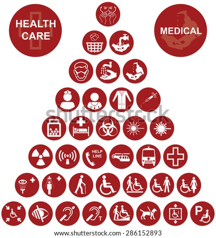 Red Medical and health care related pyramid icon collection isolated on white background - stock vector