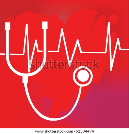 Red medical background with heart and a stethoscope - stock vector