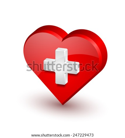 Red medical heart icon with white cross isolated on background - stock vector