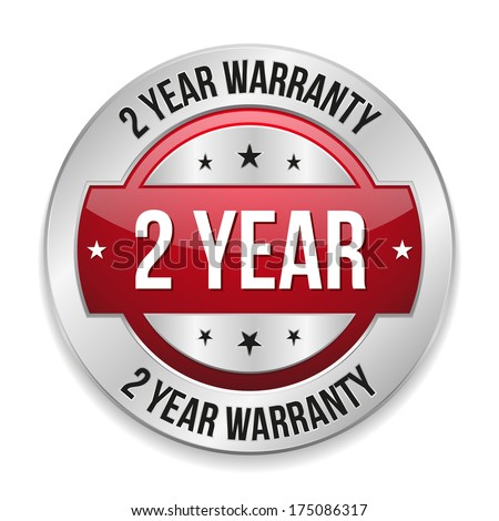 Red metallic two year warranty button - stock vector