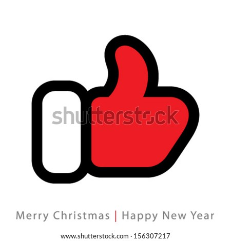 red mitten thumb up icon, vector logo illustration - stock vector