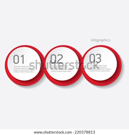 red modern paper banners set / can be used for infographics / numbered banners / horizontal cutout lines / graphic or website layout vector - stock vector