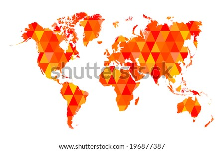 Red Mosaic Tiles World Map Isolated - stock vector