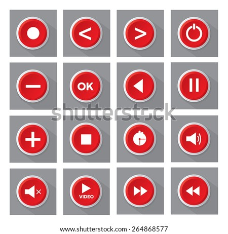 red multimedia buttons set - stock vector