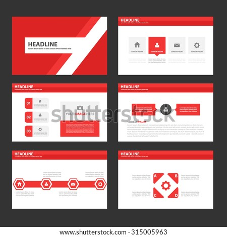 Red Multipurpose Infographic elements and icon presentation template flat design set for advertising marketing brochure flyer leaflet - stock vector