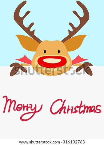 red nosed reindeer christmas card with handwritten words - stock vector