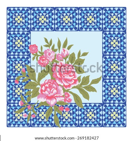 red of bouquet flora, retro design on picture frame. - stock vector