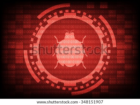 Red of ring and gears with malware bug a computer virus inside on binary code background.Vector illustration security technology concept. - stock vector