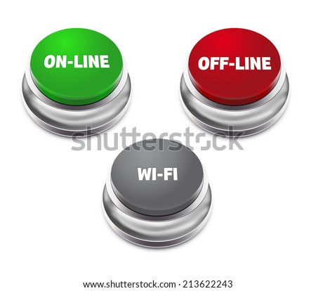 Red offline, green online and gray wifi button - isolated on white background. Vector illustration. - stock vector