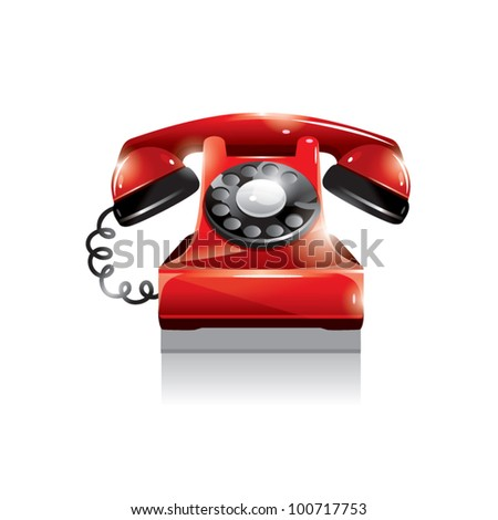 Red old fashion rotary phone - stock vector