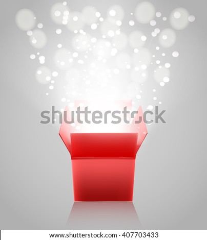 red open box with light rays on grey background. vector illustration - stock vector