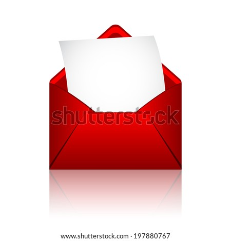 Red open envelope with paper - stock vector