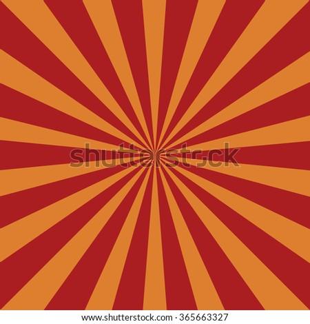 Red orange grunge sunbeam background. Sun rays abstract wallpaper. Vector illustration - stock vector