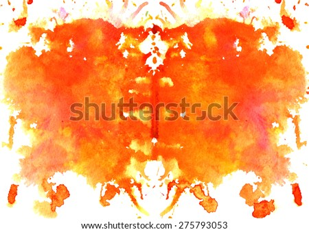 red - orange watercolor symmetrical Rorschach blot on a white background - stock vector