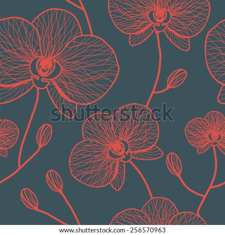 Red orchids. Seamless pattern. - stock vector