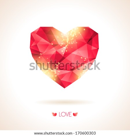 Red origami heart on white backdrop with shadow. Vector Illustration. Abstract polygonal heart. Love symbol. Lights, yellow sparkles. Low-poly colorful style. Romantic background for Valentines day. - stock vector