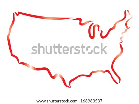 red outline of USA map - stock vector