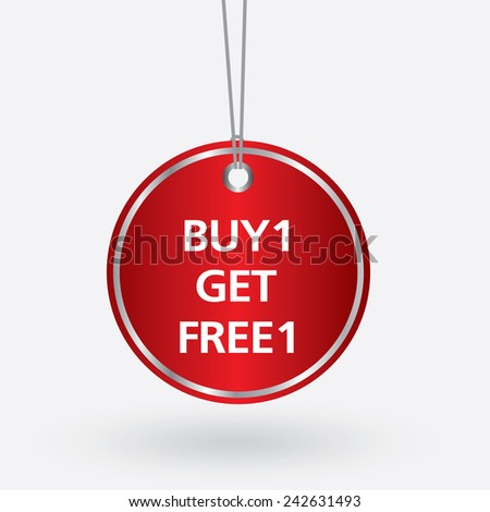 red oval buy 1 get free 1 tag. vector illustration  - stock vector