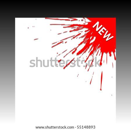 Red paint splash corner business ribbon. Vector illustration. - stock vector