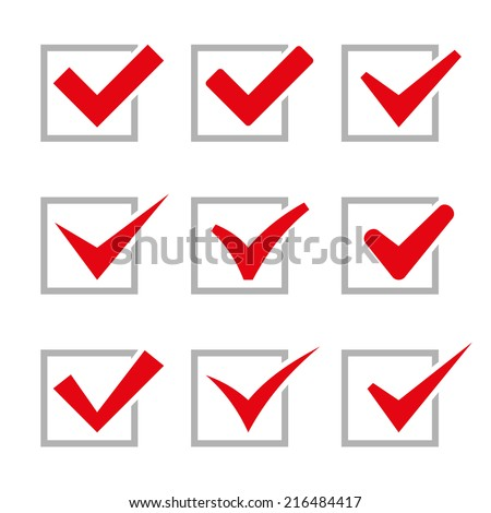 Red Painted Ticks. Check Marks. Vector illustration - stock vector