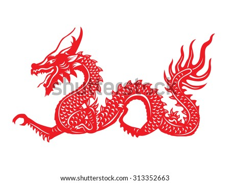 Red paper cut out of a Dragon china zodiac symbols - stock vector