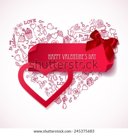 Red paper Heart banner with hand drawn  doodle love symbols. Valentine's day banner. Heart sticker.  Greeting card. Vector illustration  - stock vector