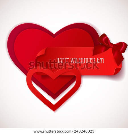 Red paper Hearts Sticker with Bow. Valentine's day banner. Greeting card. Vector illustration  - stock vector