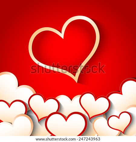 Red Paper Hearts Valentines Day Card, Vector Illustration EPS 10. - stock vector