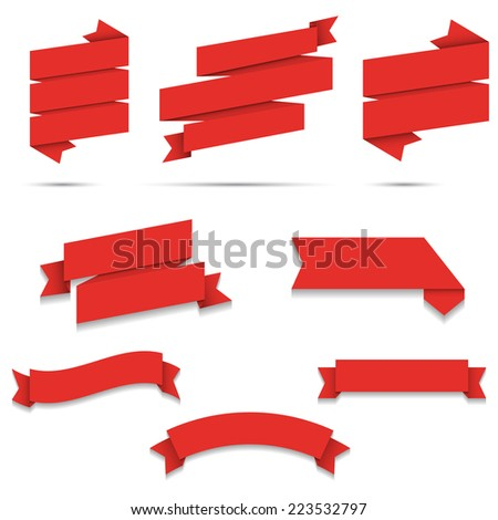 Red Paper origami Web Ribbons set With Gradient Mesh isolated on background - stock vector