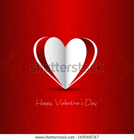 Red paper Valentines day card - stock vector