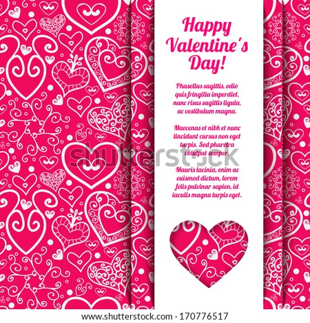Red paper vintage hearts. Valentines day background - stock vector
