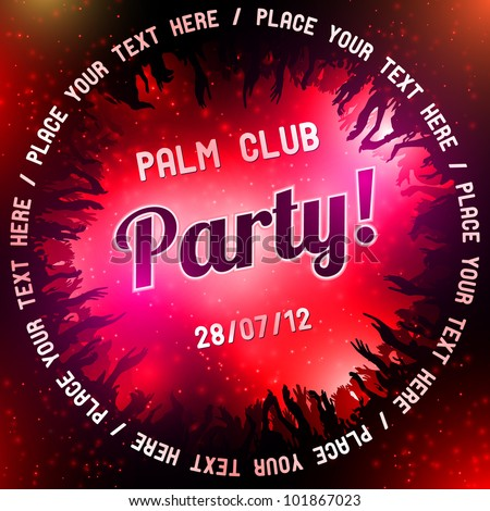 Red Party flyer vector template - stock vector