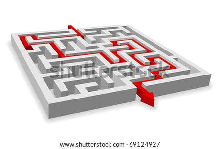 Red path across labyrinth - stock vector