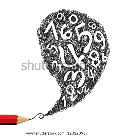 Red pencil drawing speech with numbers symbols - stock vector