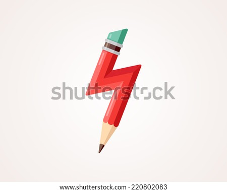 Red pencil with lightning. Vector illustration. - stock vector