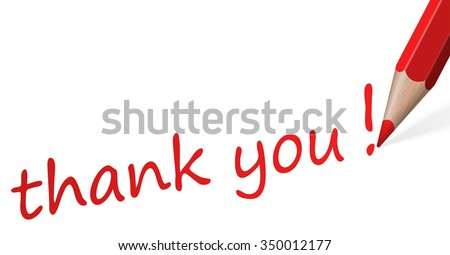 red pencil with text thank you isolated on white background - stock vector