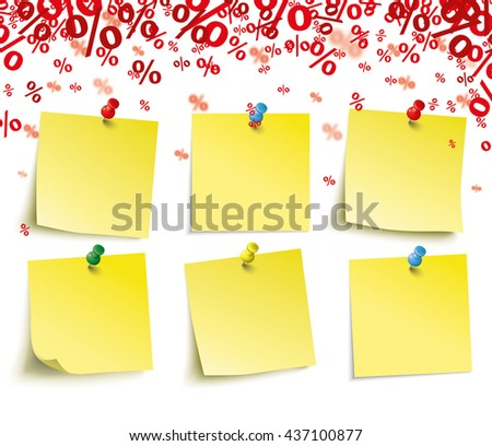 Red percents confetti with 6 yellow sticks on the white. Eps 10 vector file. - stock vector