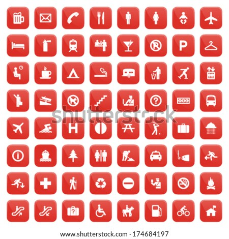 red pictogram set - stock vector