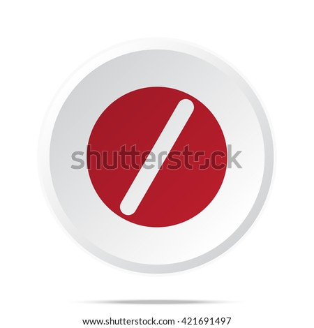 Red Pill icon on white web button - stock vector
