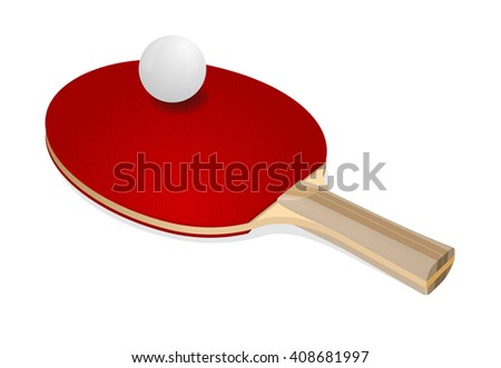 Red ping-pong rackets and white ball - stock vector