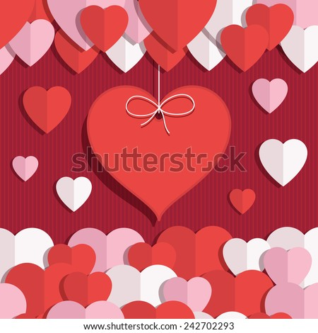 red, pink and white valentine hearts decoration with space for your text - stock vector