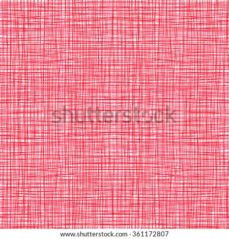 Red pink fabric with stripes, burlap, quilting, imitation natural fibers hand art work - stock vector
